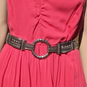 Chicos Stretch Distressed Metal Waist Belt OS